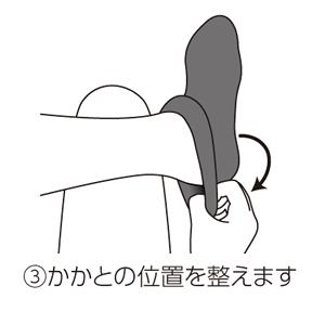むくみ対策くつ下の勝肩の位置を整えます